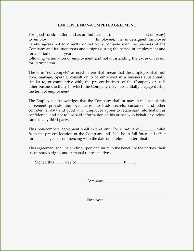 15 Stunning Employee Non Compete Agreement Template In 2020