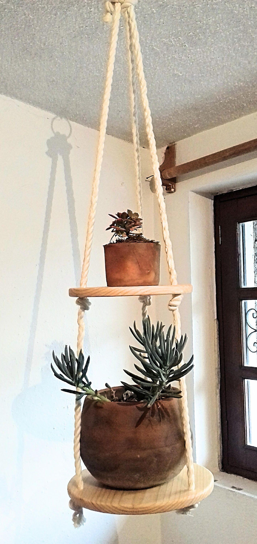 Floating Shelf Vertical Hang Planter Round Wood Shelf Plant Hanger Hanging Shelf Suspending She Hanging Plants Indoor Plant Hanger Macrame Plant Hanger