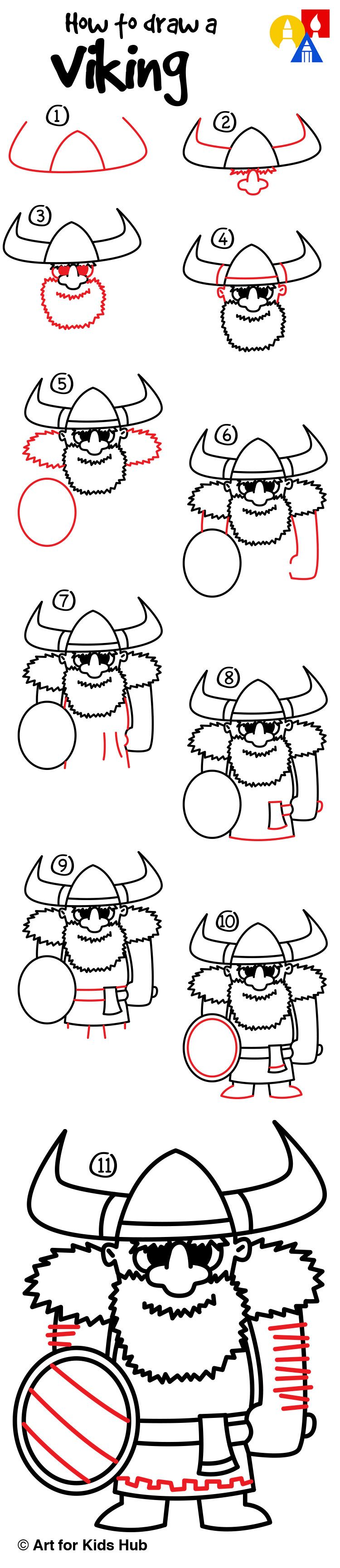 How To Draw A Viking - Art For Kids Hub - | Drawing ️ ️ ️ ...