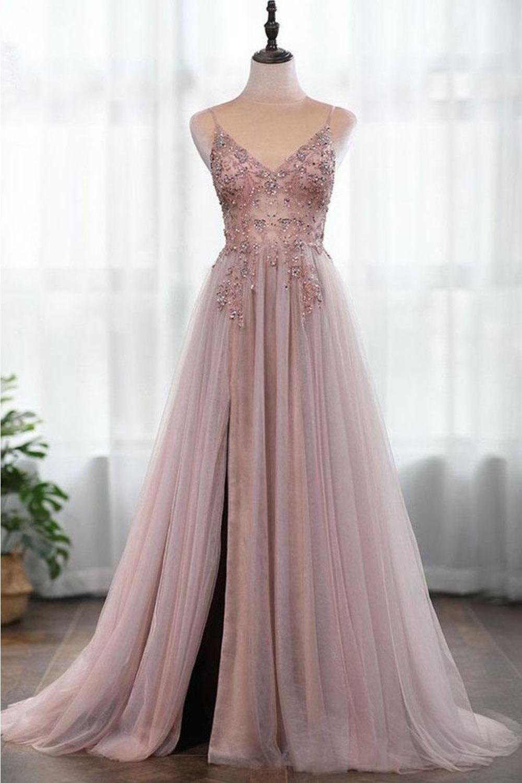 Spaghetti-Trägern Wunderschöne Perlen Prom Dress A Line Split Tüll