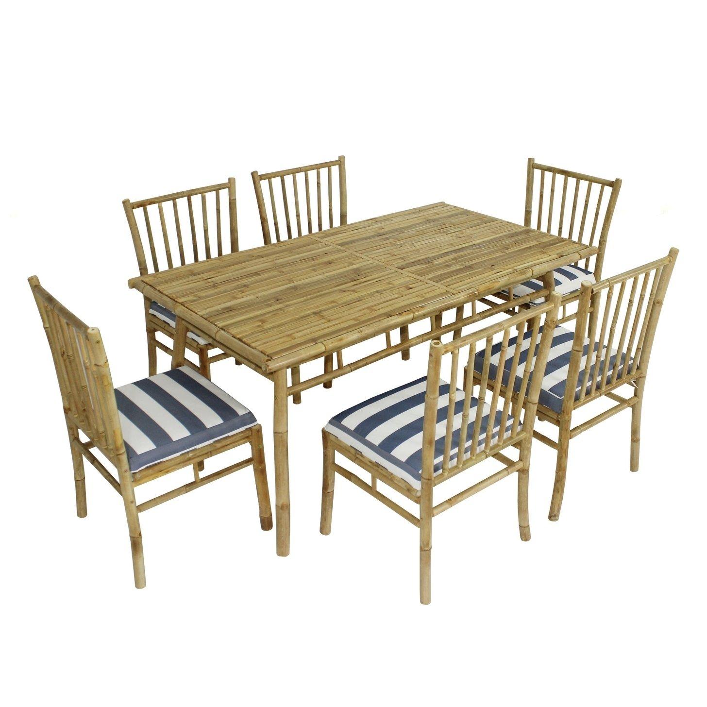 Fantastic Dining Set Of 6 White Blue Stripes Bamboo Chairs Rectangular Inzonedesignstudio Interior Chair Design Inzonedesignstudiocom