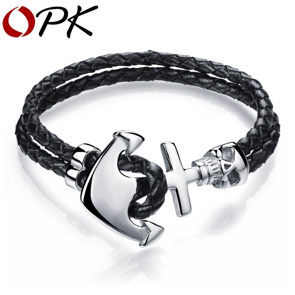 Fashion double leather anchor bracelets handmade leather braided