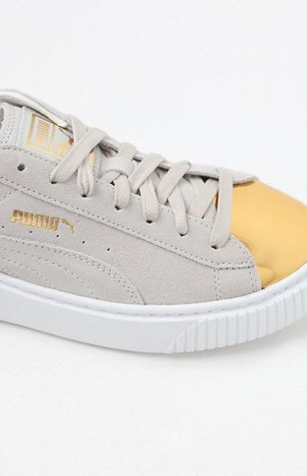 Women s White Suede Platform Gold Sneakers Gold Sneakers 1049c9e79fb7