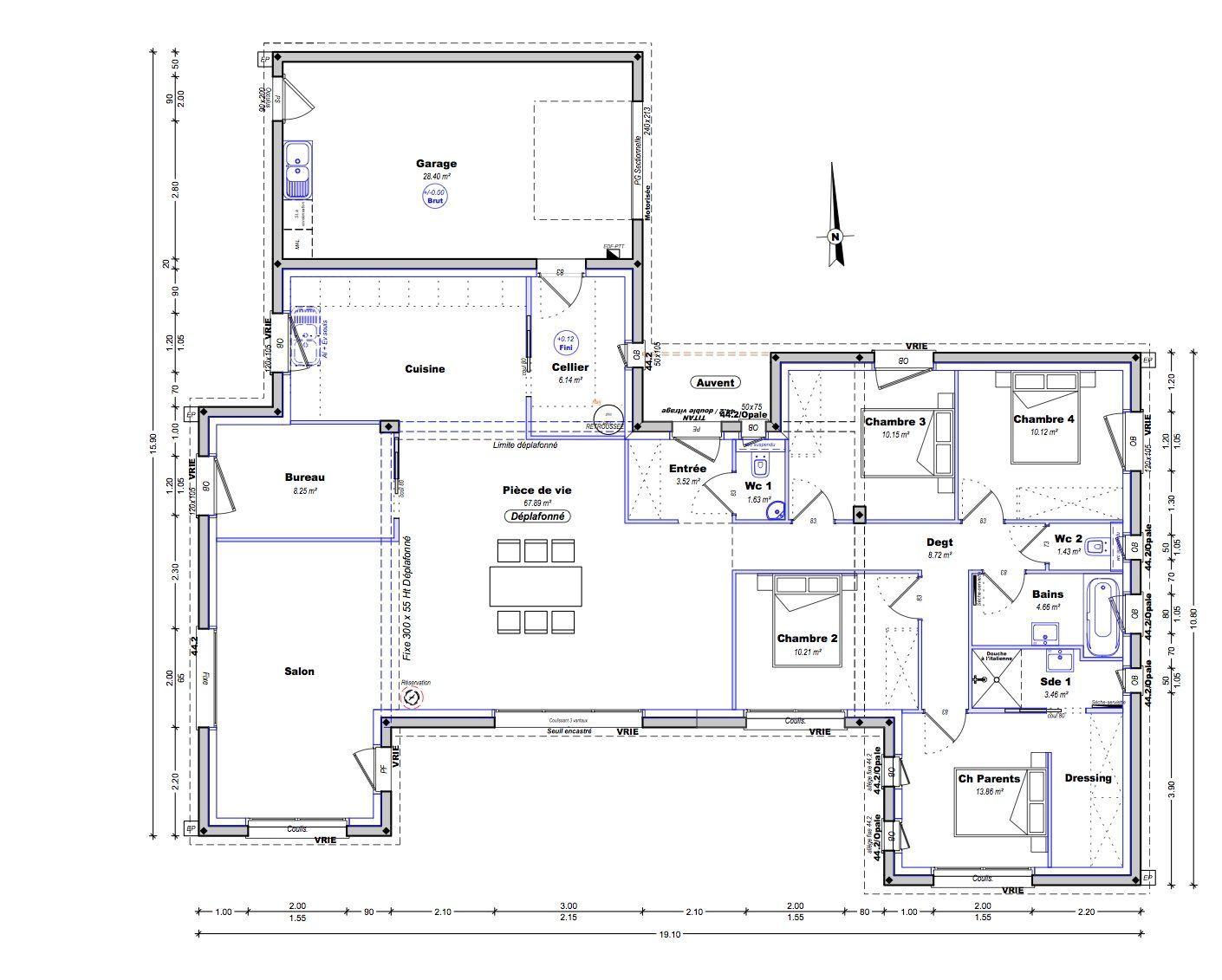 Plan Maison Plain Pied 4 Chambres 150m2 Plan