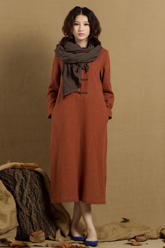 long tunic dress, shirt dress with pockets, linen dress in dark ...