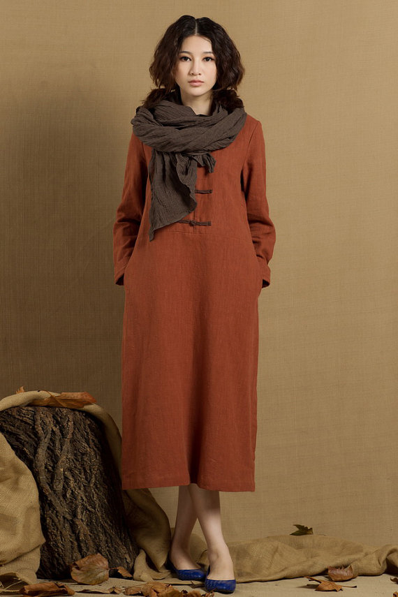 b9ab4bb3775 long tunic dress, shirt dress with pockets, linen dress in dark orange -  custom on Etsy, US$96,00