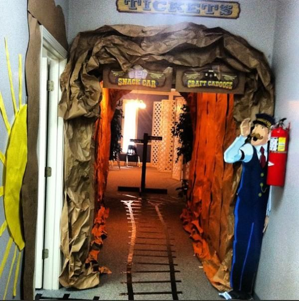 VBS Decorations idea for Train theme. Door onto basement ...