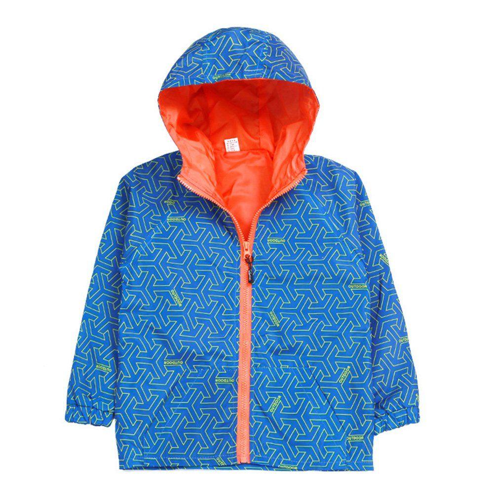 cbe16dd5371d Uwback Kids Boys Printed Windbreaker Hooded Jacket with Pockets Blue ...