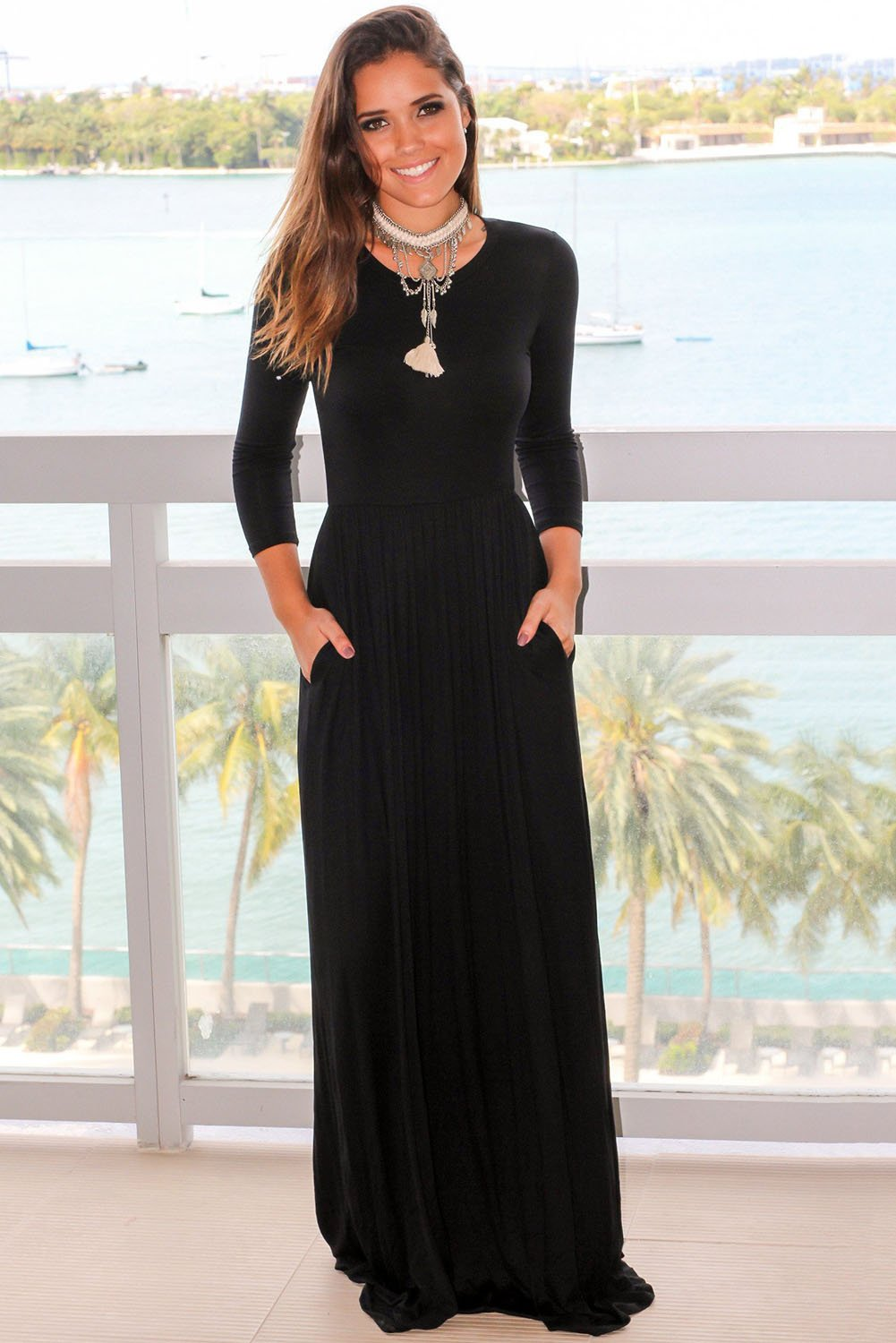 Black pocket design sleeves maxi dress in products