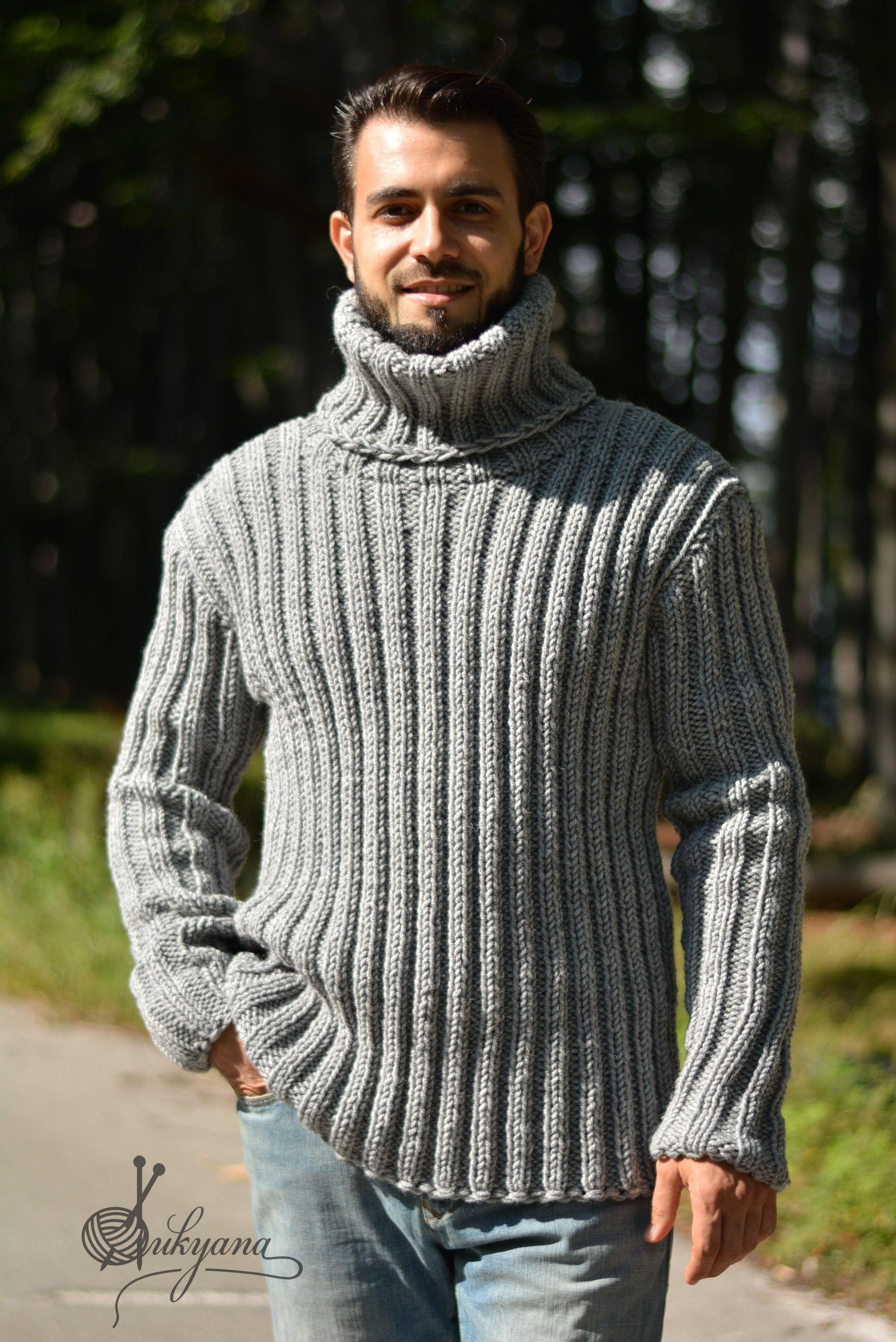 Gray Ribbed Mens Wool Sweater By Dukyana Knitwear Men Wool
