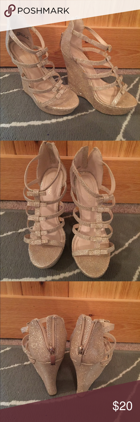 Gold glitter wedges NWOT Strappy gold glitter wedges | zipper back Shoes Wedges
