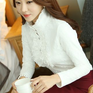 Buy KOKA Stand Collar Frill Trim Lace Shirt at YesStyle.com! Quality products at remarkable prices. FREE WORLDWIDE SHIPPING on orders over US$35.