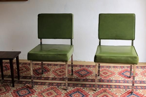 Cool Green Vinyl Waiting Room Chairs Huisraad Mid Century Mid Theyellowbook Wood Chair Design Ideas Theyellowbookinfo
