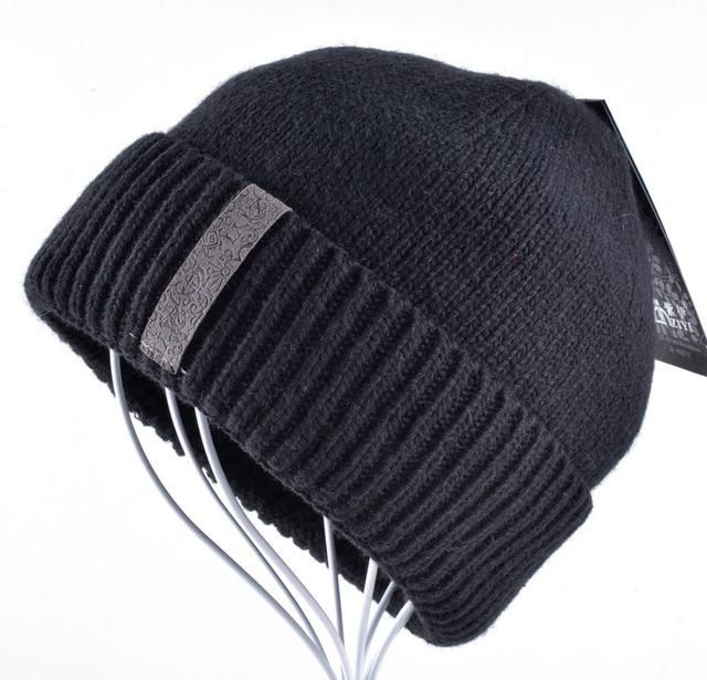 1acd50f5b8a Winter Beanies Solid Color Hat men Knitted Warm Soft Beanie Double layer  plus thick velvet Cap