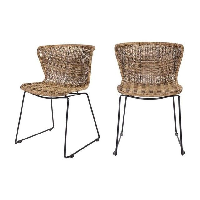2 Chaises Indoor Outdoor Resine Tressee Wings Meuble Osier Chaise Chaise Design