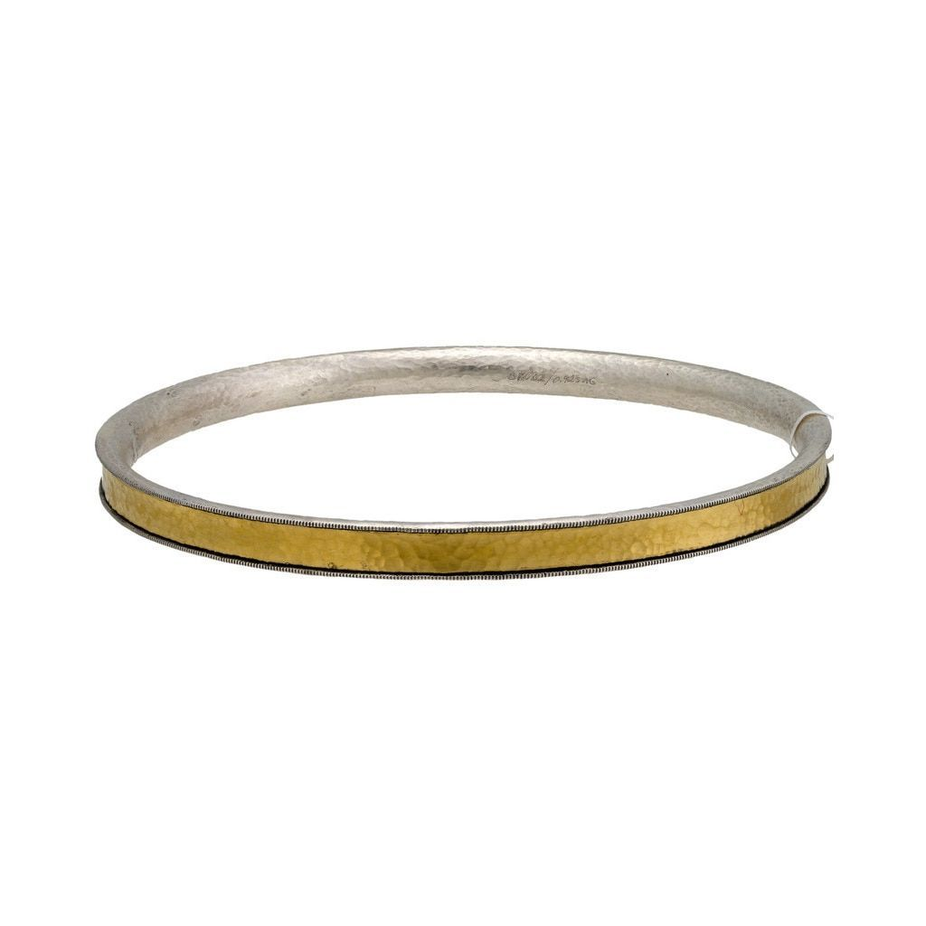 Gurhan lancelot sterling silver layered with k yellow gold bangle