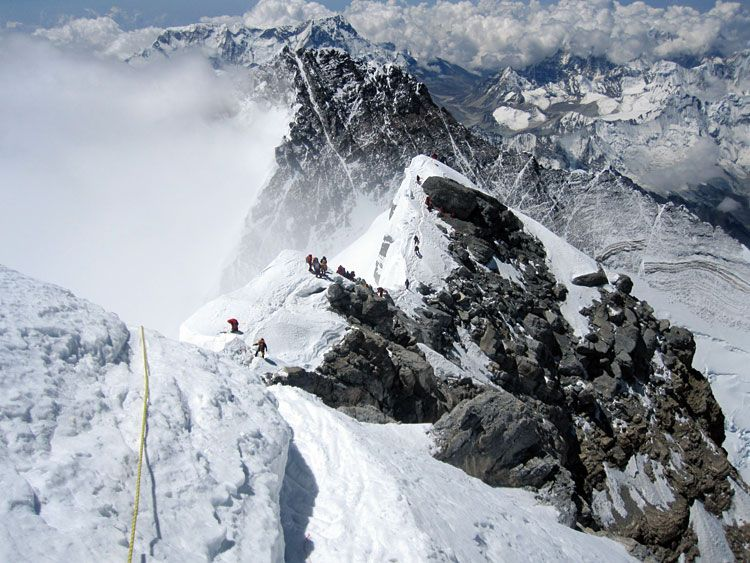 Looking back to the Hilary Step and South Summit | Mountaineering