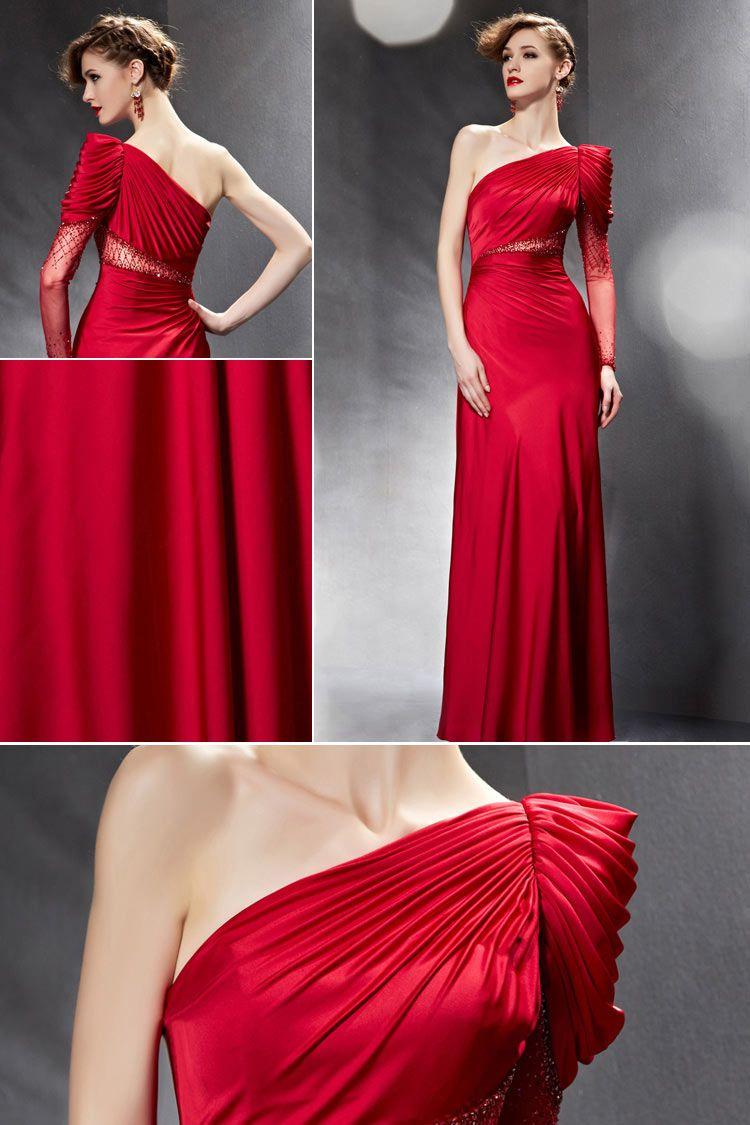 852c1557116 Rouge robe à seule manche longue avec des plis au niveau de l épaule -  PERSUN GARMENT CO.