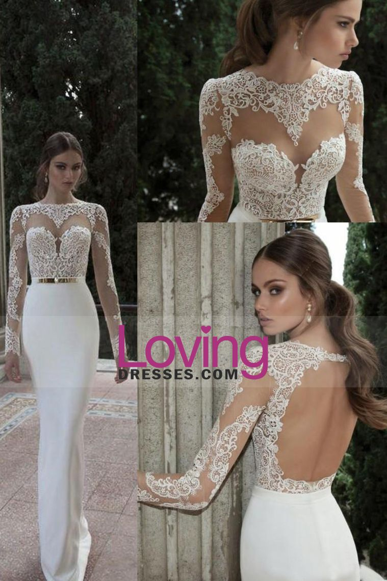2016 Wedding Dresses Scoop Full Sleeves With Sash Sweep Train Backless