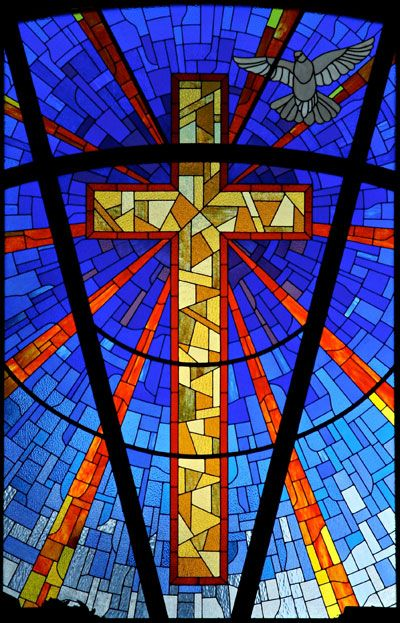 Religious Stained Glass Window Cross
