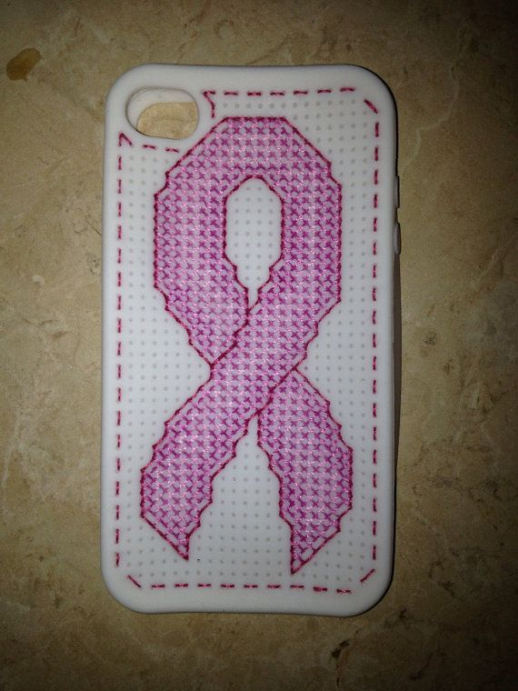 Cross Stitch white iPhone 4/4S CoverPink ribbon by ontheroadmama, $7.50