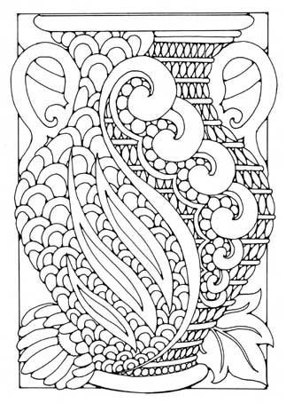 free coloring page coloring adult art deco vase art deco flower - Art Deco Coloring Pages