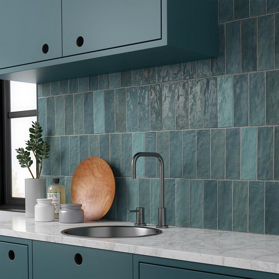 Portmore Aqua 3x8 Glazed Ceramic Tile Glazed Ceramic Tile Ceramic Wall Tiles Kitchen Tiles Backsplash Ceramic tiles for kitchen backsplash pictures