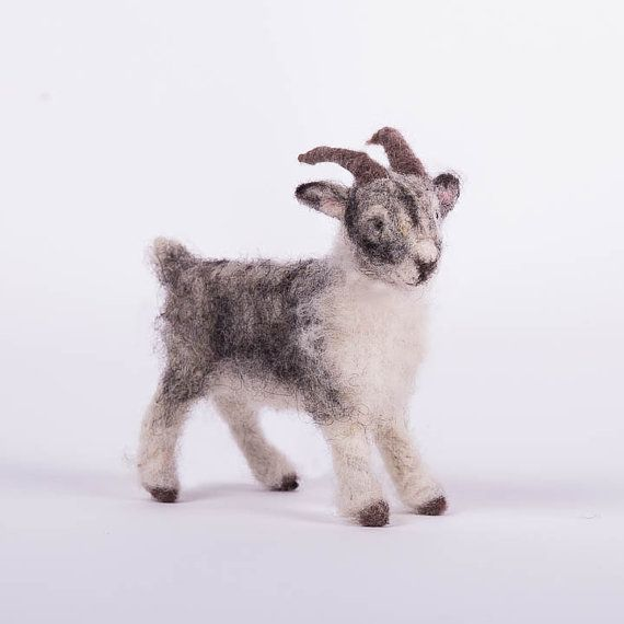 needle felted goat grey and white goat by woolinlegends on Etsy