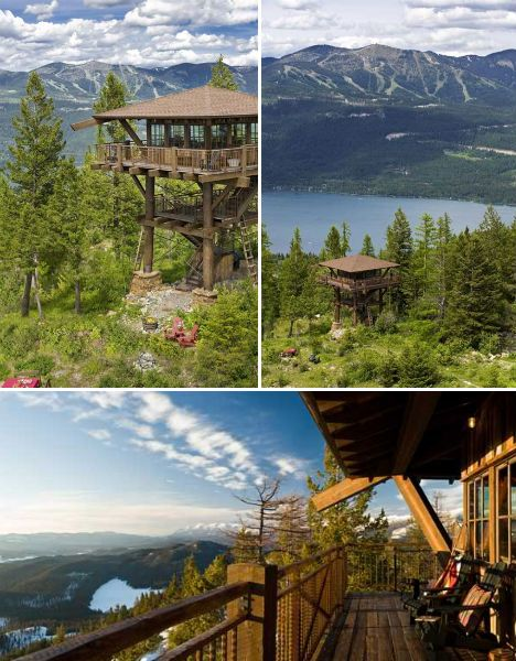 Timber-Frame Fire Tower in Montana