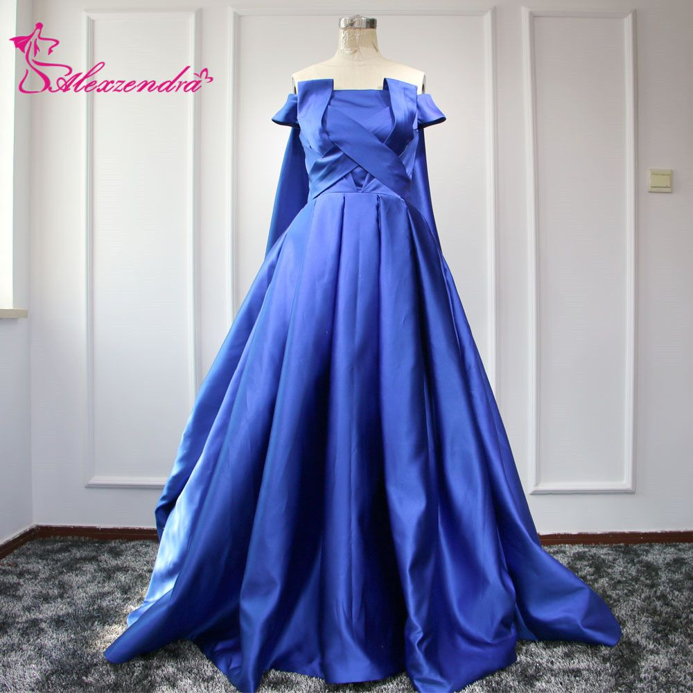 Real photos royal blue unique design evening dress with shawl long