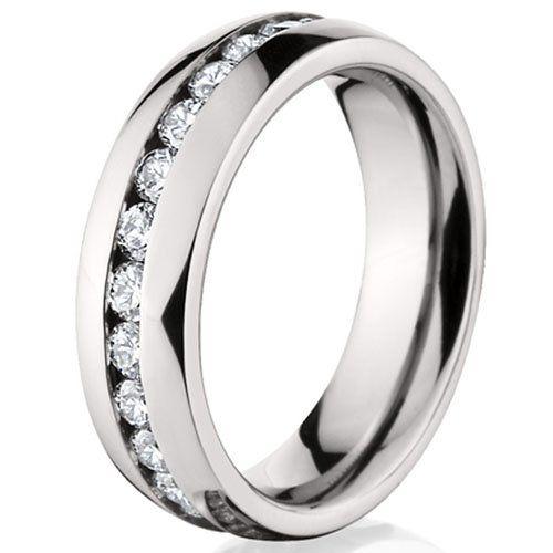 6MM Ladies Eternity Titanium Ring Wedding Band with CZ buVJAfkMc