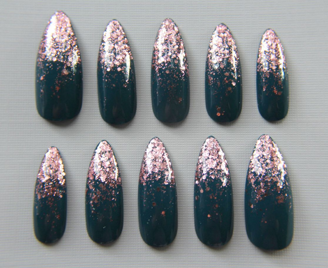Stiletto Teal and Rose Gold Nails | Press On Nails | Fake Nails ...