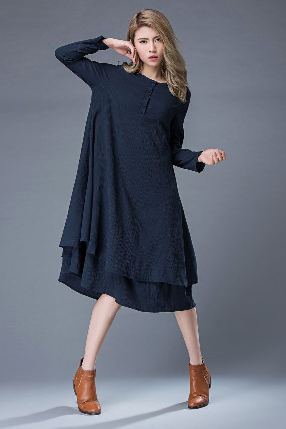 81fdb90b0462 Navy Linen Dress – Navy Blue Linen Midi Summer Dress Long-Sleeved Loose- Fitting With Layered Hemline C846