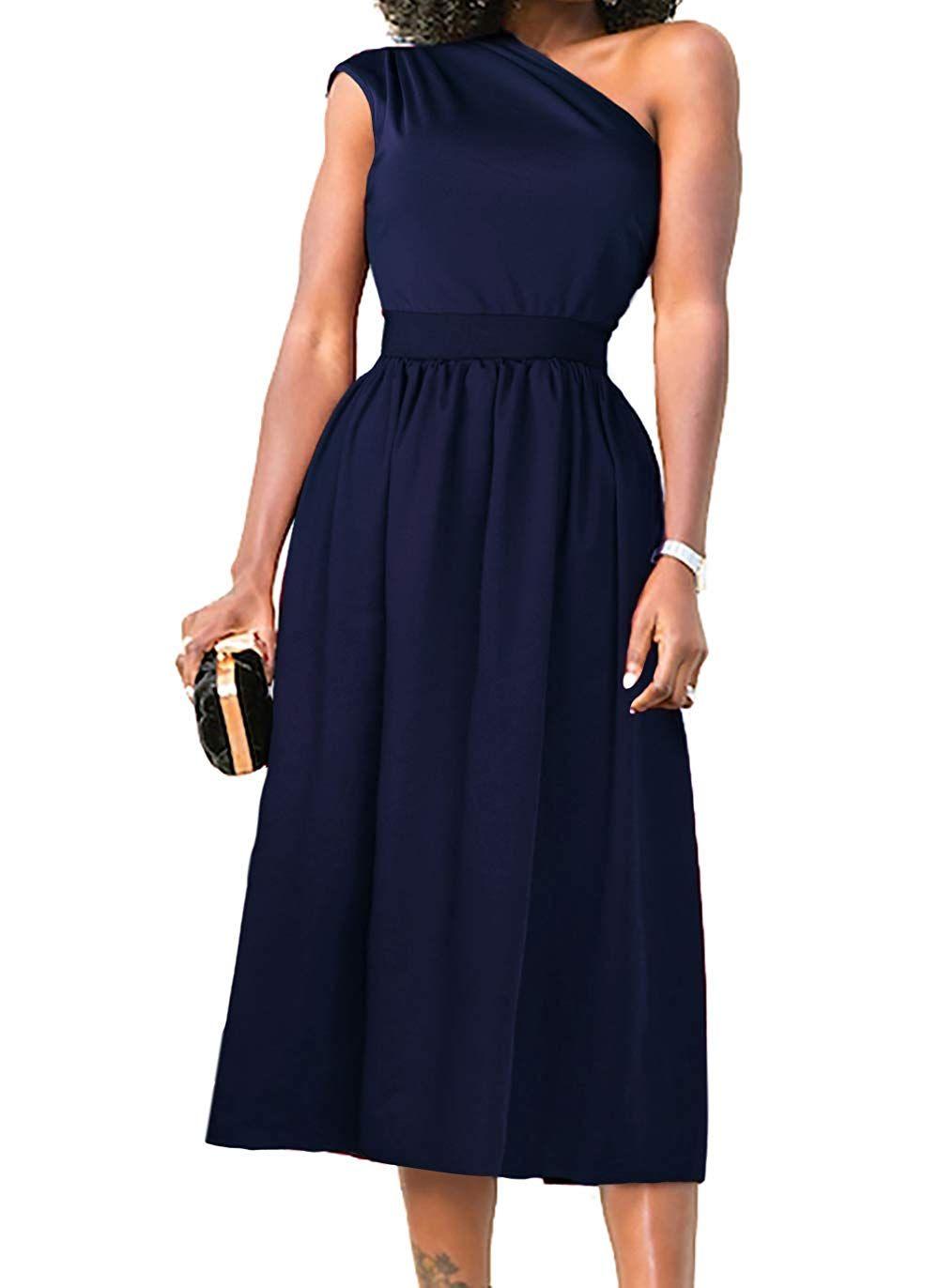 Navy Midi Dress Casual