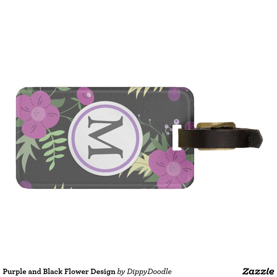Purple and Black Flower Design Luggage Tag