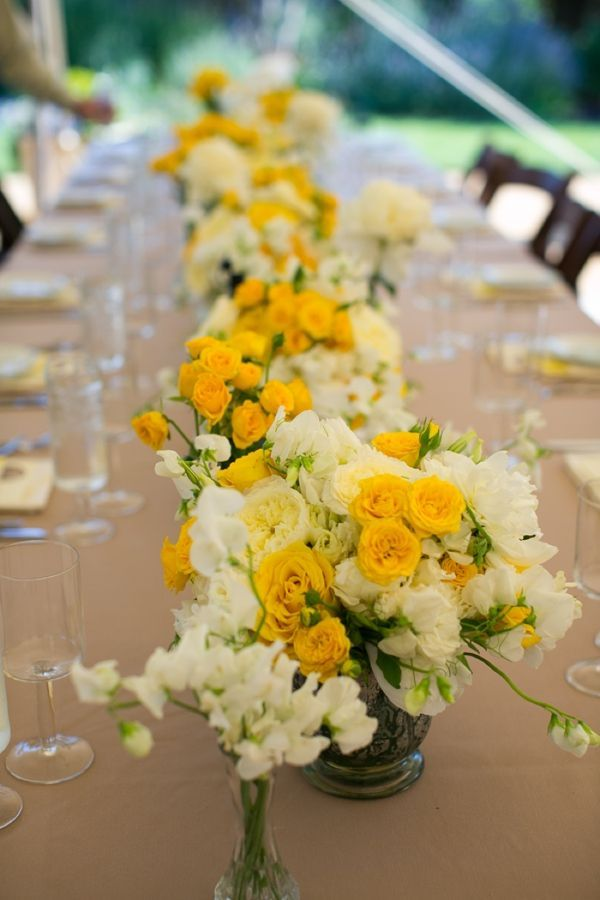 Sara And Justin S Yellow Diy Wedding Is A Must See Yellow Wedding Flowers Yellow Wedding Theme Wedding Table Flowers