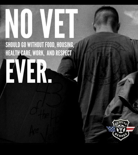NO VET should go without anything!  EVER...