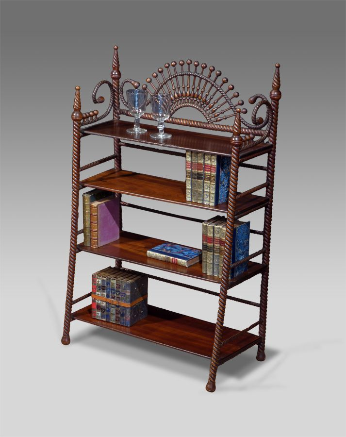 Furniture £1600  19th Century Continental Walnut Open Bookcase. An  Eccentric Piece; With