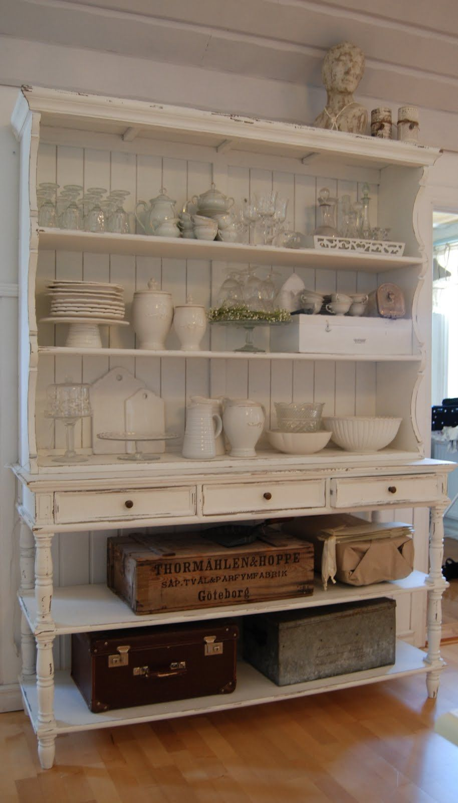 Cabinet cabinets pinterest white hutch shabby and green table