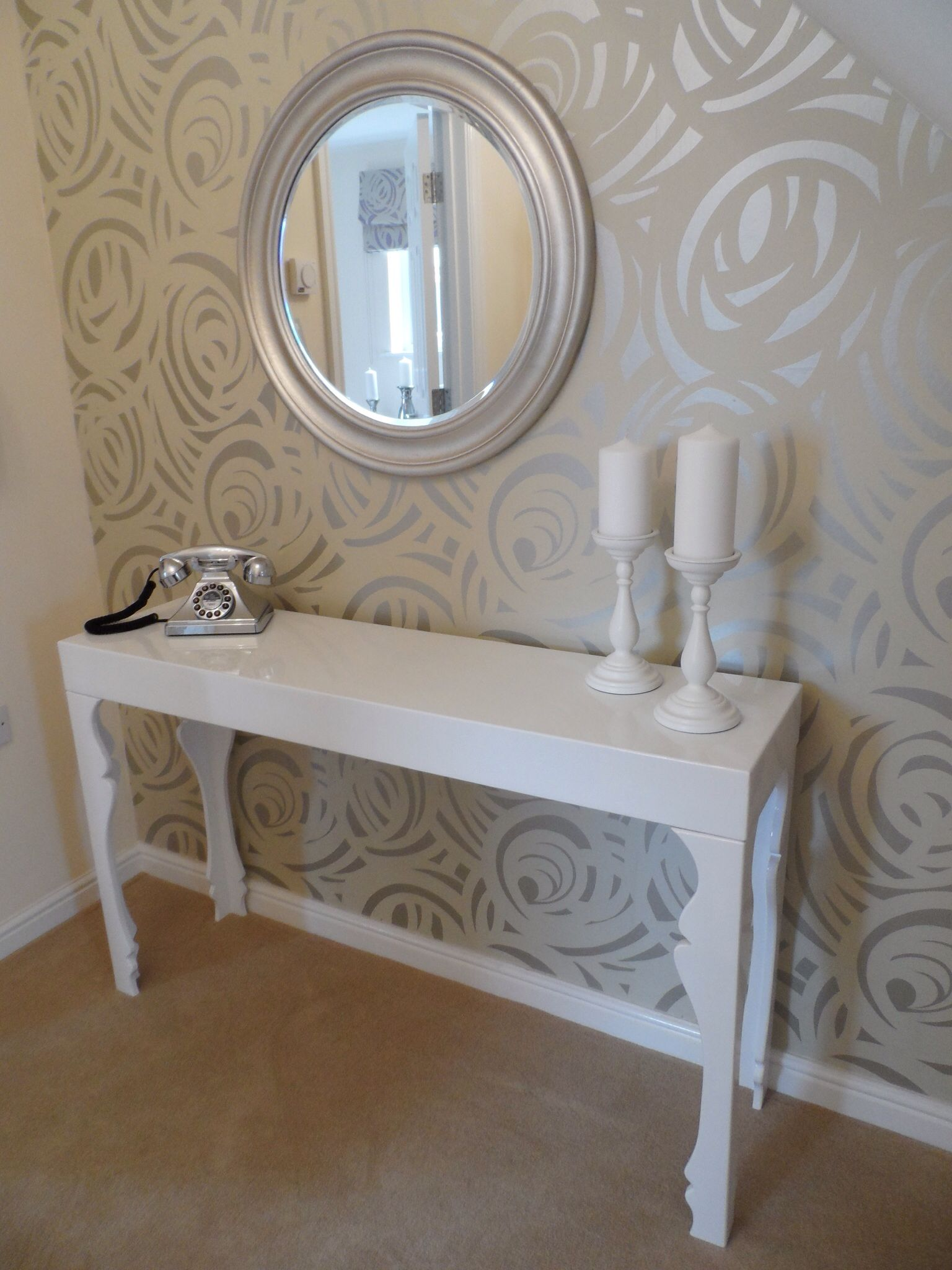 Damask wallpaper hallway ideas  Our Show Home at Cae Nant elegant hallway featuring Harlequin