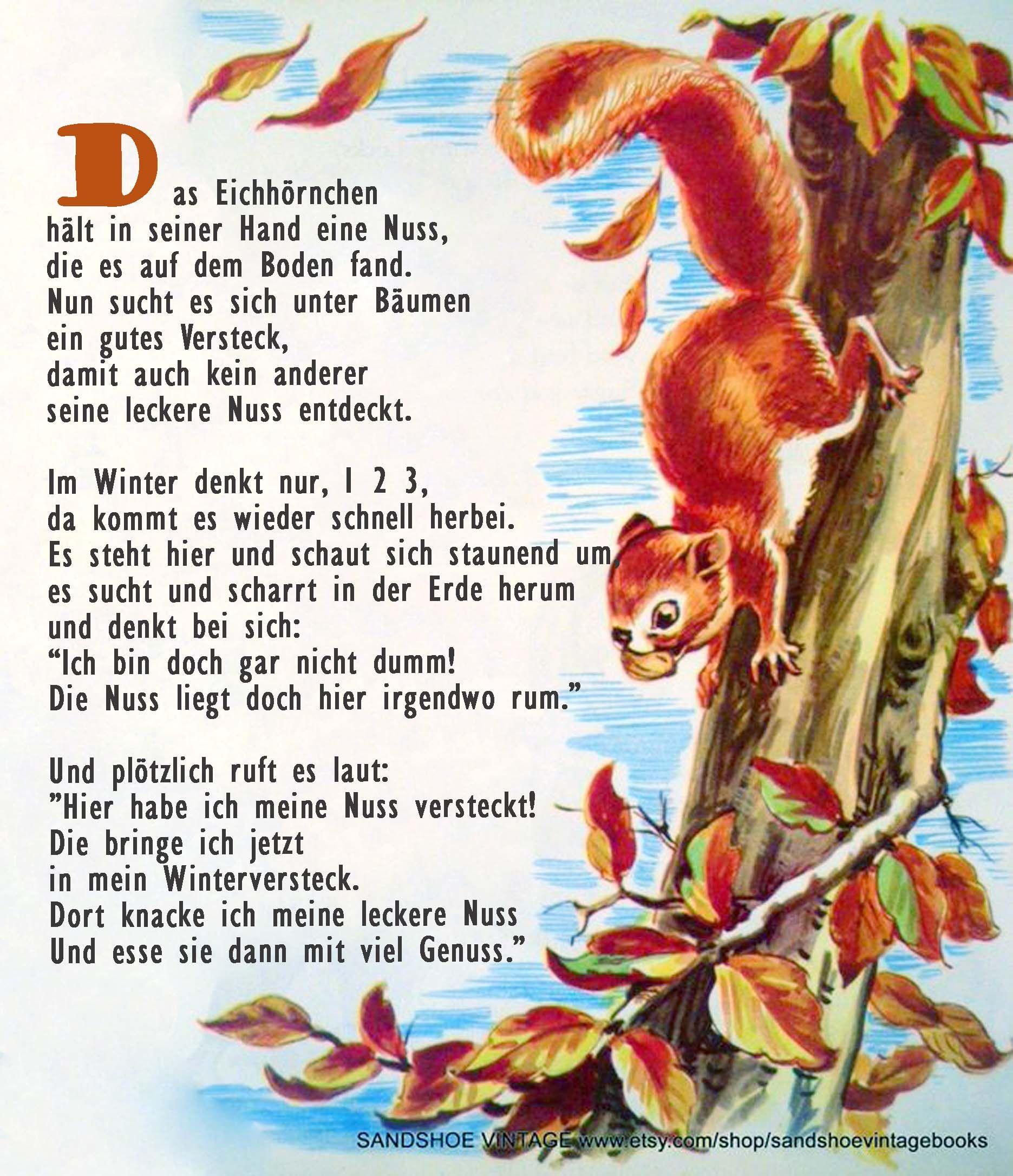 Das Eichhornchen Wintergedichte Fur Kinder Herbst Im Kindergarten Gedichte Fur Kinder