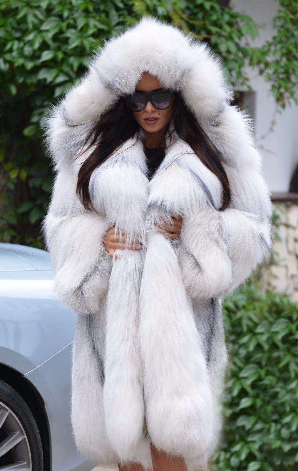 Silver Chinchilla Hood Fur Coat Winter Fur Coats Fur Coats
