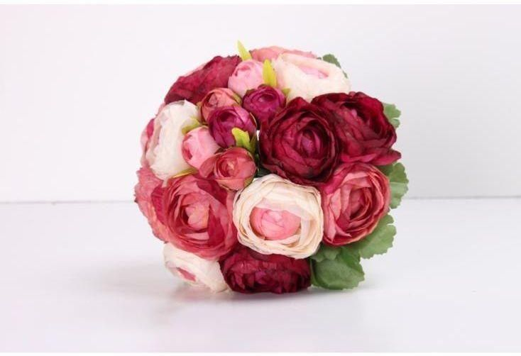 High Quality Silk Simulation Artificial Flower Camellia Rose Peony 10 Heads Bunch Bridal Bouquet Wedding Bridal Bouquet Cheap Wedding Bouquets Wedding Bouquets