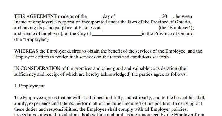 صيغة عقد عمل Word Names The Province Employment