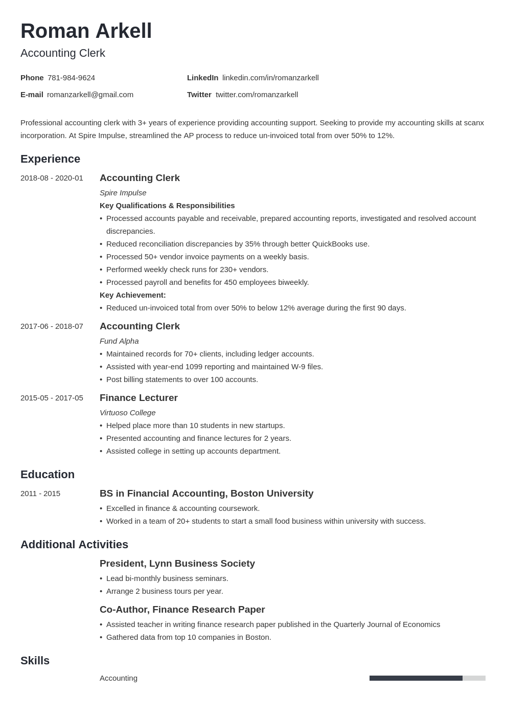 11 Accounting Job Description For Resume In 2021 Resume Examples Job Resume Examples Accounting Jobs