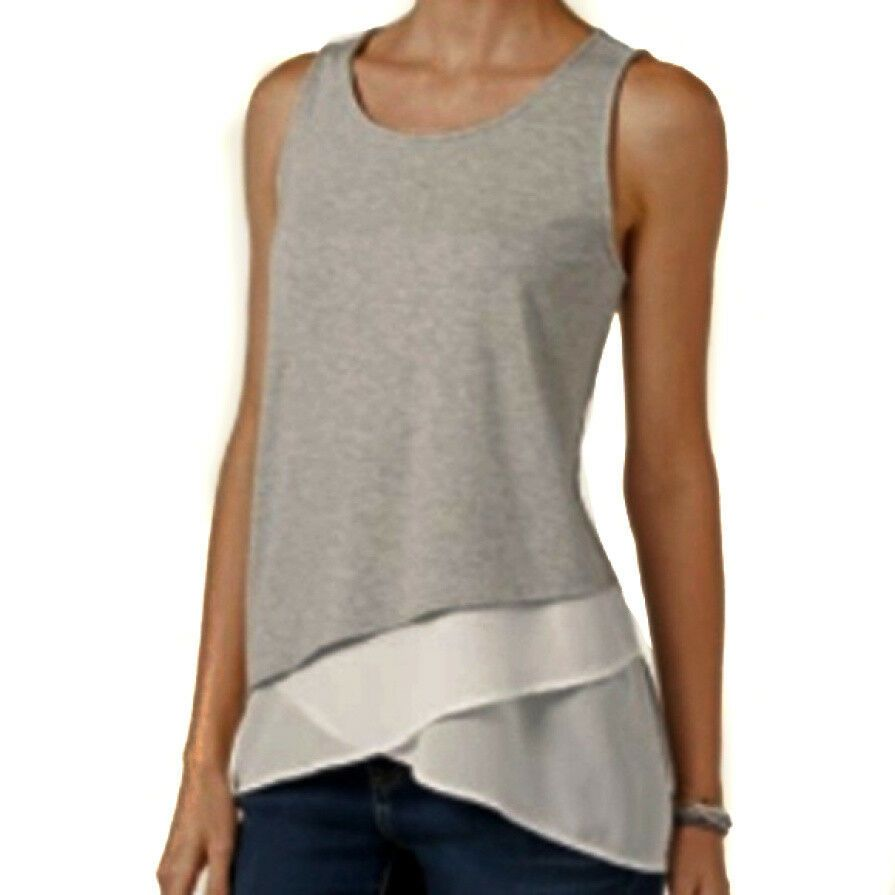 107ab6439d99e INC International Concepts NEW Asymmetrical Layered-Look Tank Top Gray  Large  INCInternationalConcepts  Blouse  Career