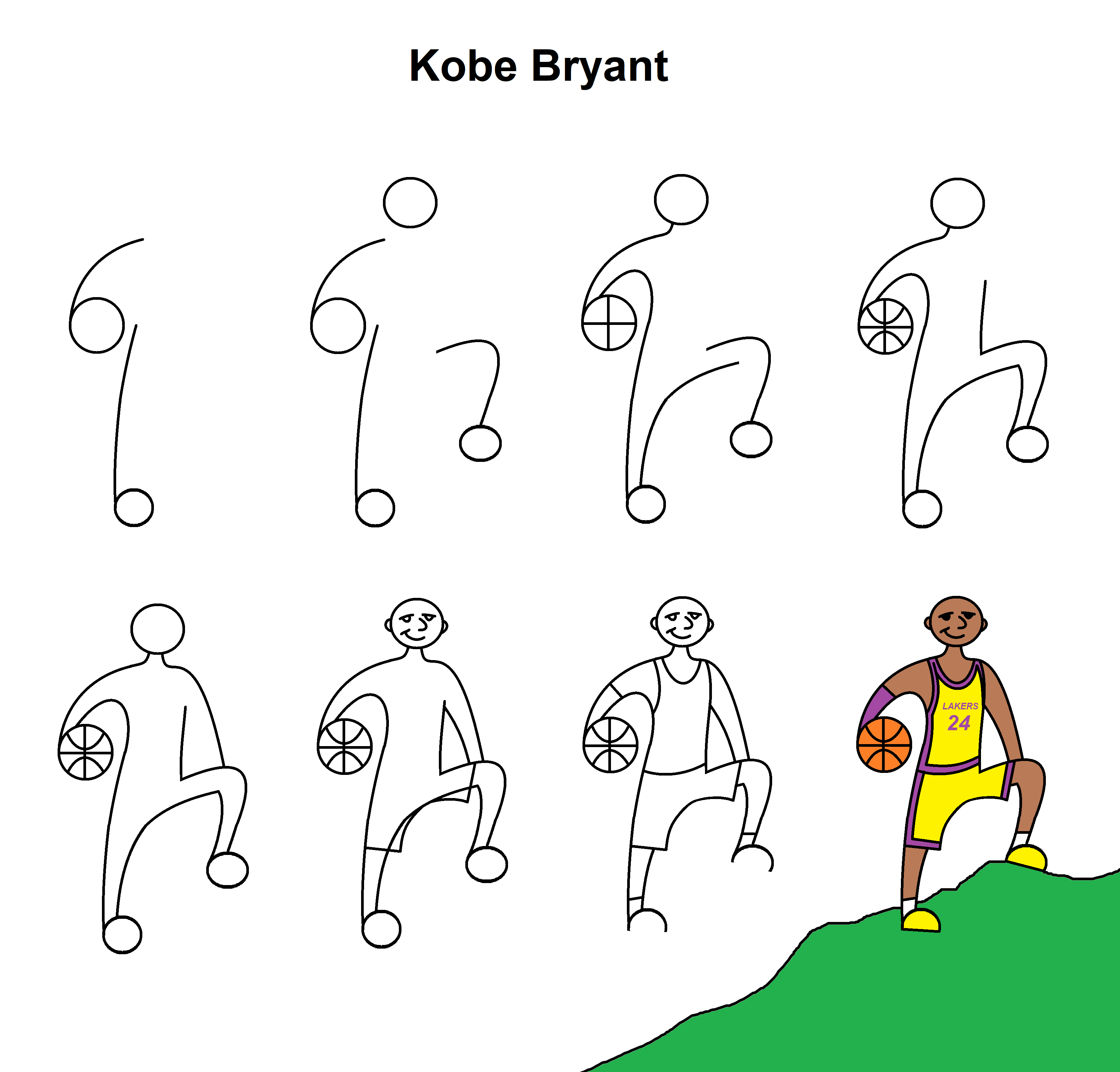 Step By Step Tutorial To Draw The Late Kobe Bryant His Height Was