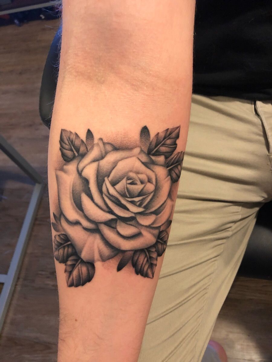 Finished Up My Rose Tattoo Finally Added Some Leaves Done By Nick