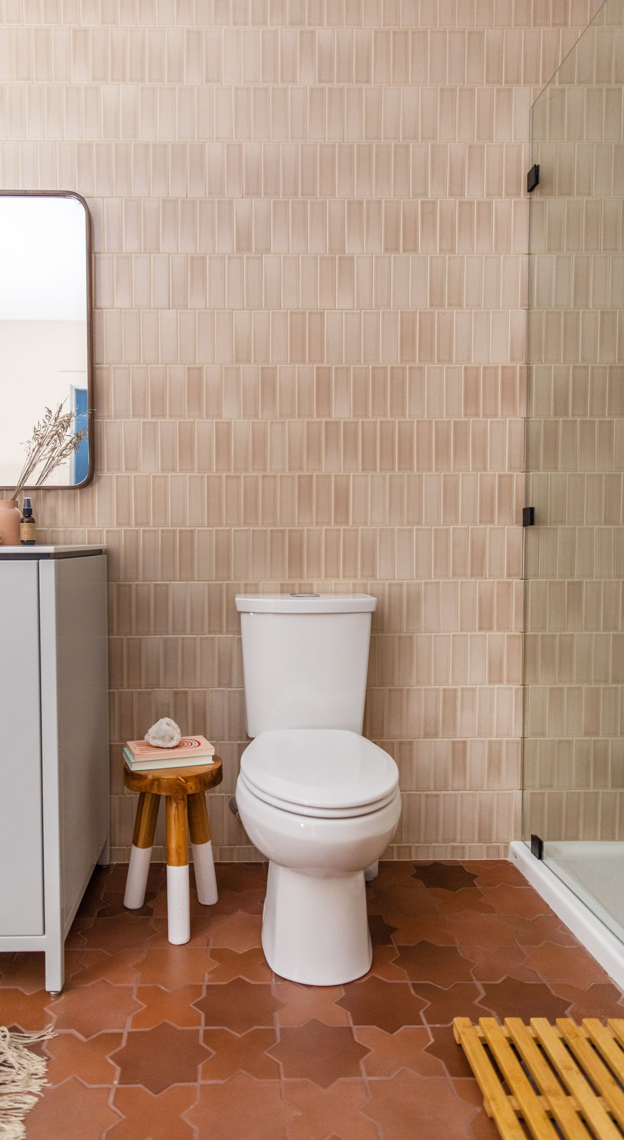 Floor To Ceiling Tile In This Beautiful Basement Bath Featuring 2x6 Tiles In Sand Dune And Large S Brown Tile Bathroom Fireclay Tile Brown Tile Floor Bathroom