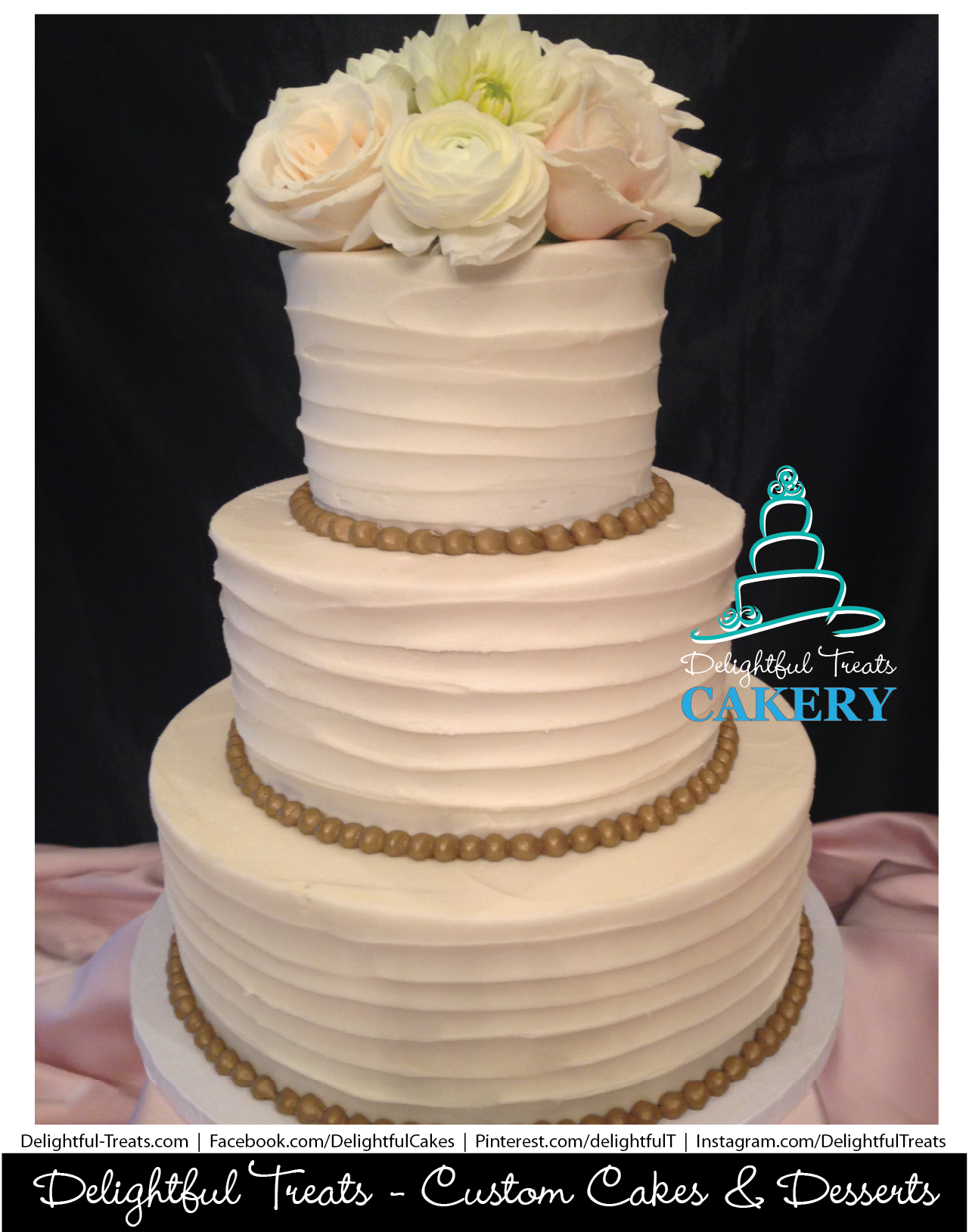 Horizontal Rustic Buttercream Wedding Cake with Gold Pearl